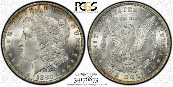 1880-O Morgan Dollar MS64 PCGS, High-End, Brilliant, and Tough!