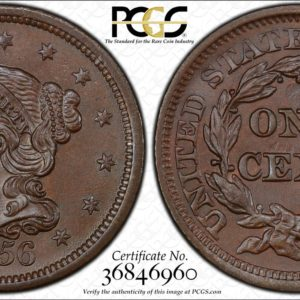 1856 Slanted 5 Large Cent, Impeccable MS65BN PCGS Gorgeous Luster!