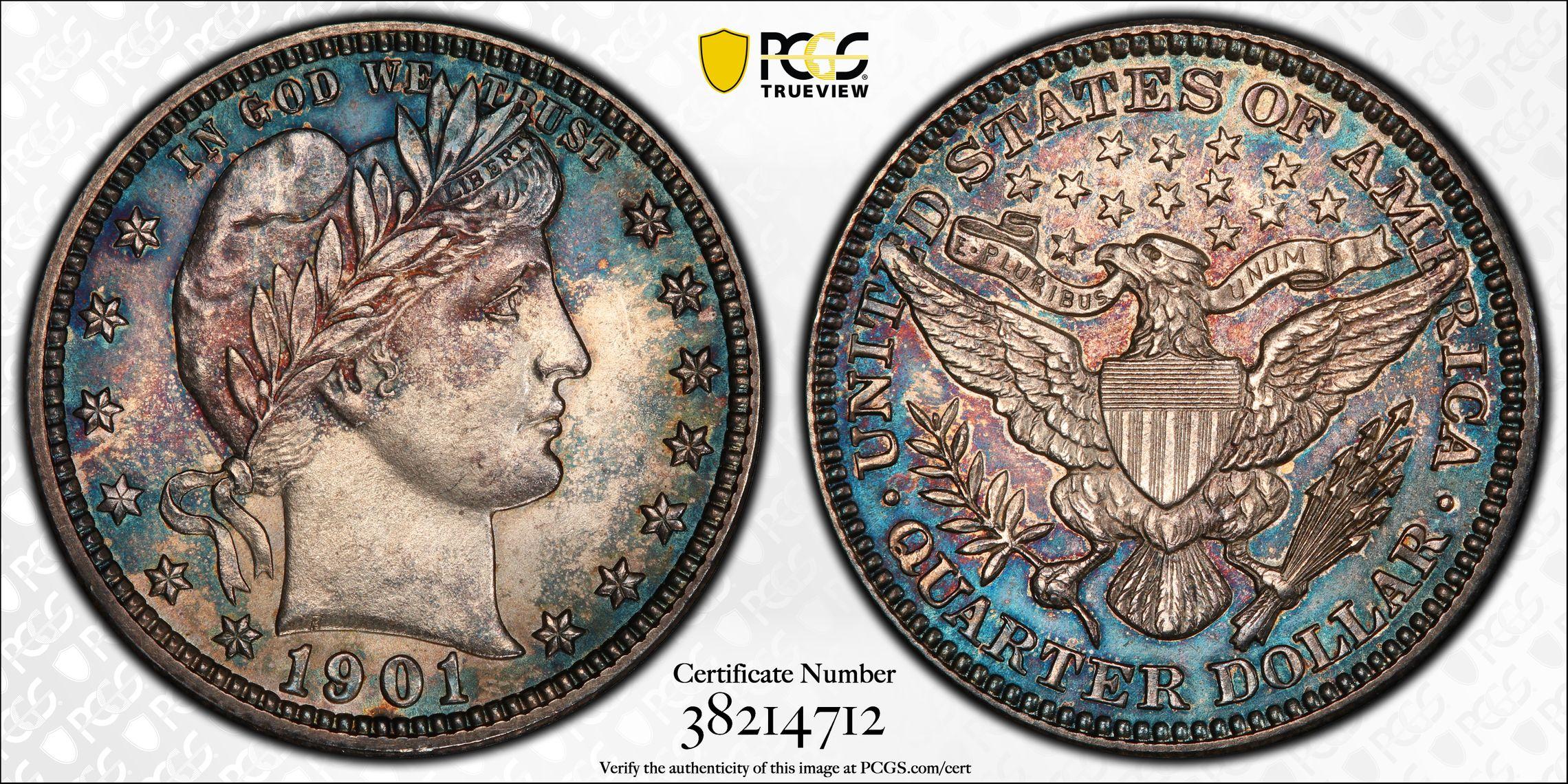 1901 Barber Quarter, MS62 PCGS Splendid 'Blue Rose' Toning