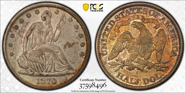 1870-S 'No Drapery' Seated Half, Breen-4953, Delightfully Toned AU53 PCGS