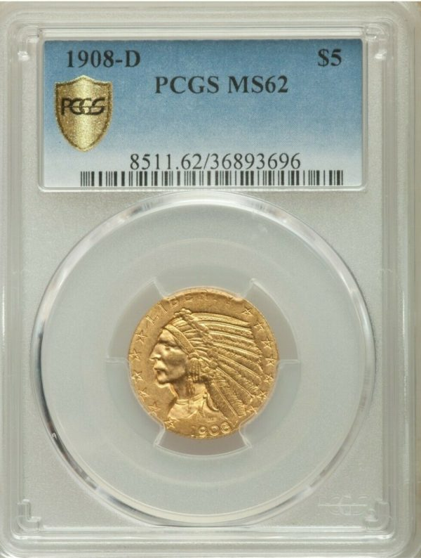 1908-D Indian Head Half Eagle, Uncommonly Nice MS62 PCGS