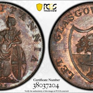 Great Britain Scotland 1795 Halfpenny Conder Token, Lanarkshire, Glasgow, Rule Britannia-Let Glasgow Flourish DH-6a MS63BN PCGS