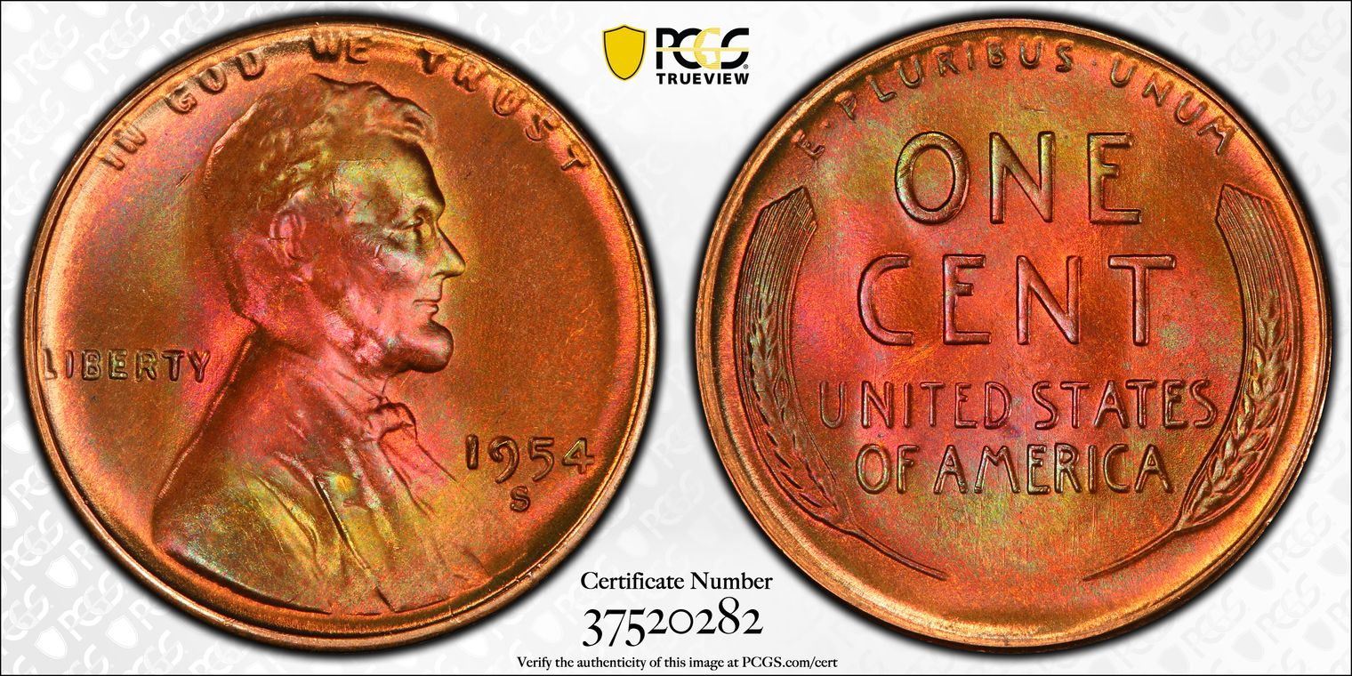 1954-S Lincoln Cent Amazing Fireball Blazer From an Original Roll MS66RB PCGS