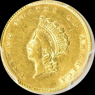 1855 Type Two Indian Princess Gold One Dollar, Elusive Type, AU58 PCGS