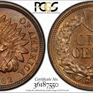 1862 Copper-Nickel Indian Cent MS64 PCGS, Popular Civil War Date.
