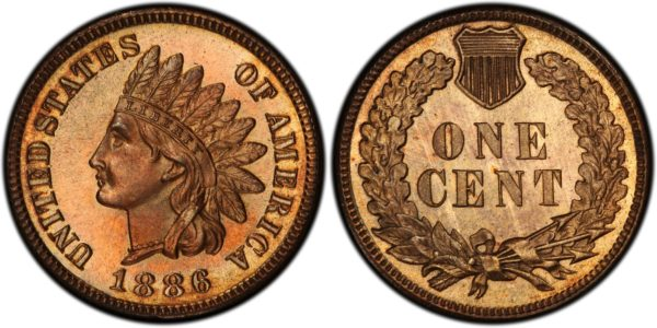 1886 Variety 1 Indian Cent, Lovely Toned PR66RB PCGS CAC With Trueview