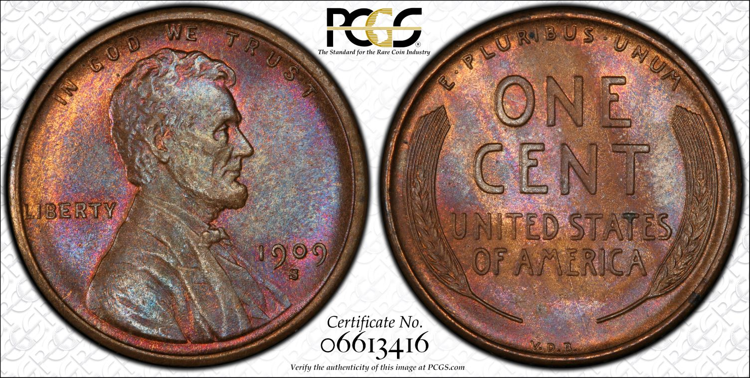 1909-S VDB Lincoln Cent, Beautifully Toned MS64BN PCGS CAC, Ex: Winged Liberty Set