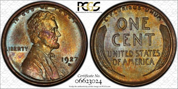 1927-D Lincoln Cent, Glorious Golden-Teal MS64BN PCGS, Ex: Winged Liberty Set