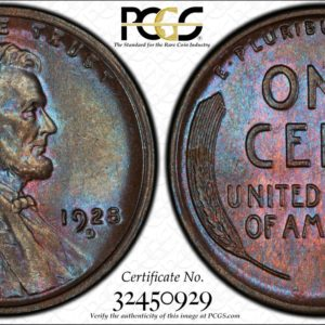 1928-D Lincoln Cent, Blue-Rose MS64BN Ex: Winged Liberty Set