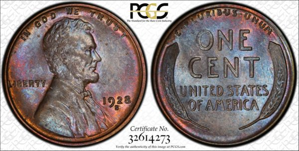 1928-S Lincoln Cent, Undergraded, Eye-Appealing MS62BN PCGS, Ex: Winged Liberty Set.