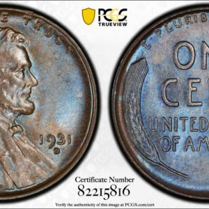 1931-D Lincoln Cent MS65BN PCGS 'Almond Blue,' Pop 24/1, Ex: Winged Liberty Set
