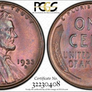 1933-D Lincoln Cent, MS65BN PCGS, 'Power to the Purple,' Ex: Winged Liberty Set