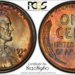 1934-D Cent, Lovely Green- and Rose-Toned MS65BN PCGS, Ex: Winged Liberty Set