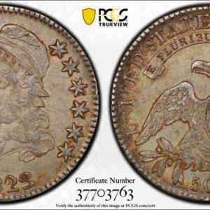 1823 Capped Bust Half Dollar, O-103, R.2, Nicely Toned AU50 PCGS
