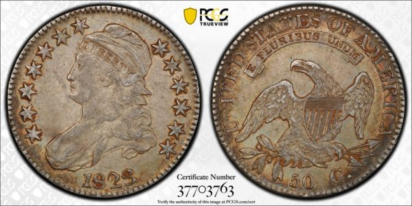 1823 Capped Bust Half Dollar, O-103, R.2, Nicely Toned AU50 PCGS