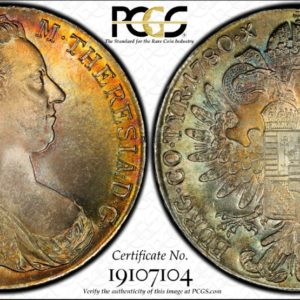 Austria '1780' Restrike Maria Theresa Thaler MS66 PCGS, Most Stunning Toner in Our Collection!