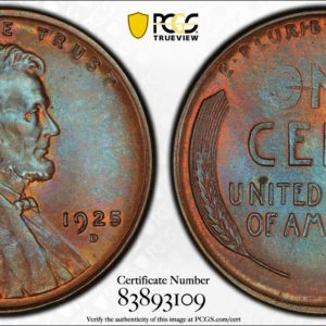 1925-D Lincoln Cent 'Blue Almond,' MS65BN PCGS Splendid Semikey