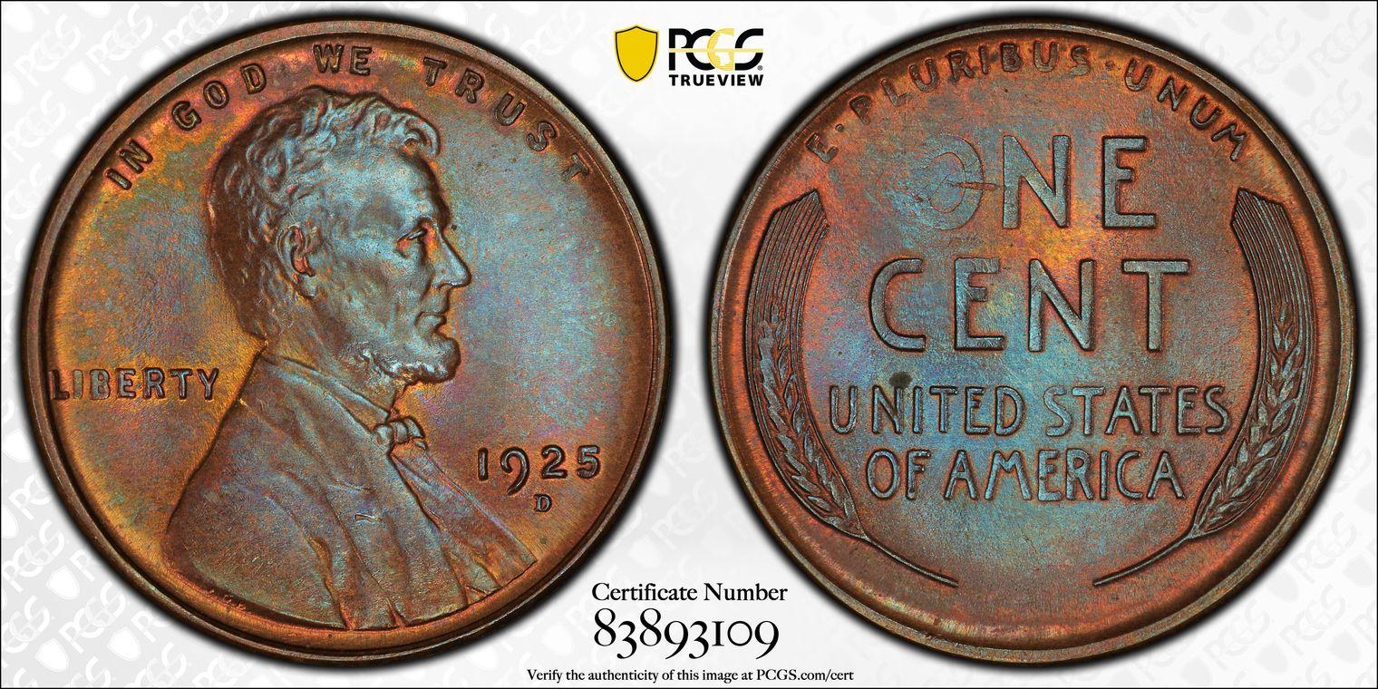 1925-D Lincoln Cent 'Blue Almond,' MS65BN PCGS Splendid Semikey