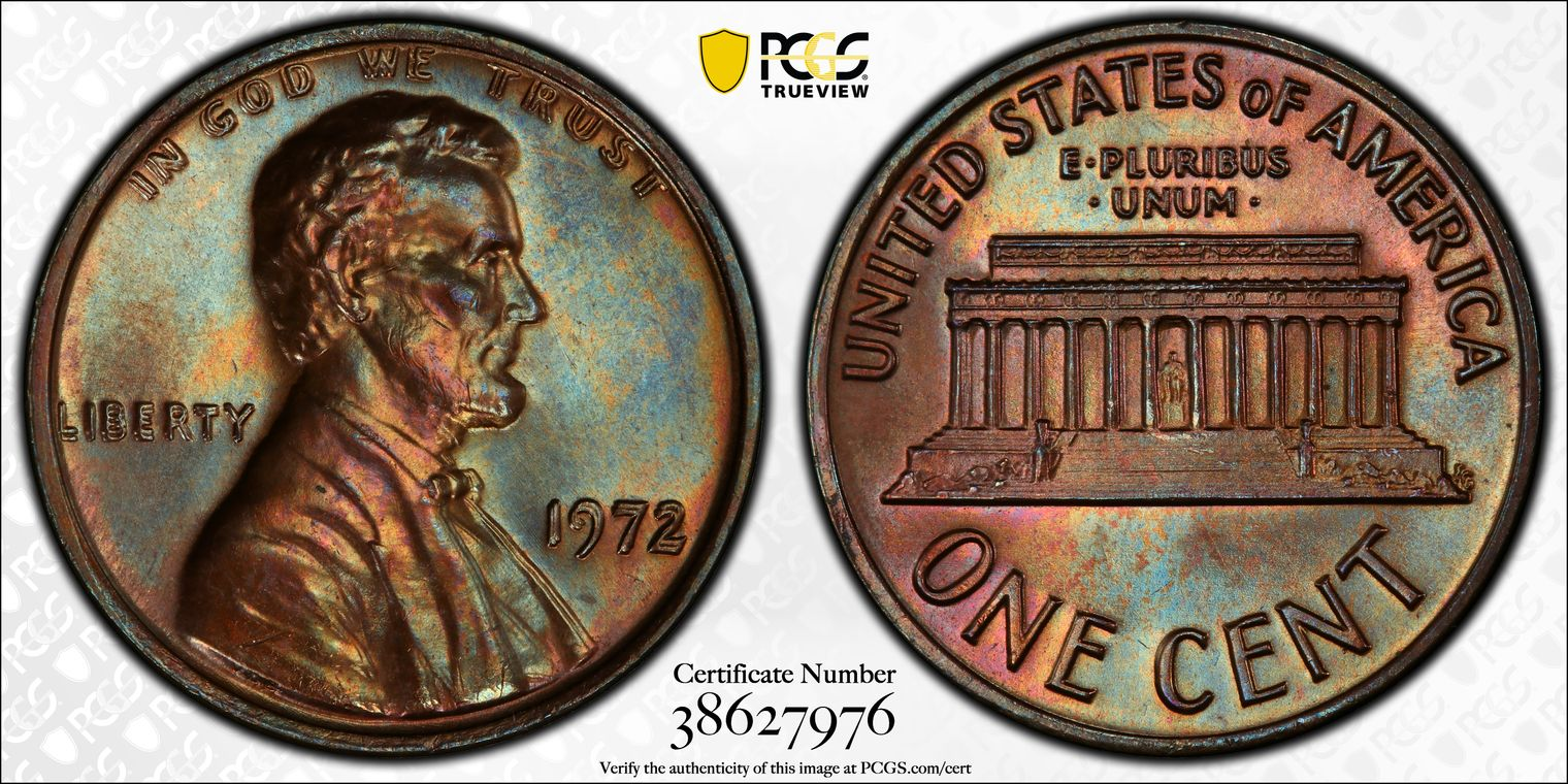 1972 Doubled Die Obverse (DDO) Cent, Top-Pop MS66BN PCGS, 'Pastel Prize'