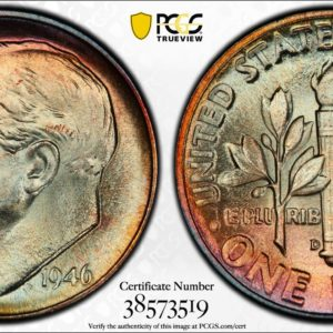 1946-D Roosevelt Dime, MS65FB PCGS, 'Jade Rose,' Nice First-Year Type Coin