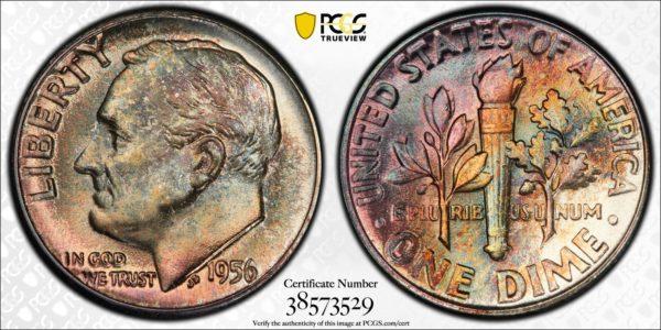 1956 Roosevelt Dime MS67 PCGS, 'Pretty Pastel' Superb Gem