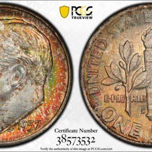 1957-D Roosevelt Dime 'Crimson Sage' MS66 PCGS