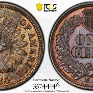 1c 1864-L on Ribbon, Snow-5, FS-2304, RPD, MS63+RB PCGS