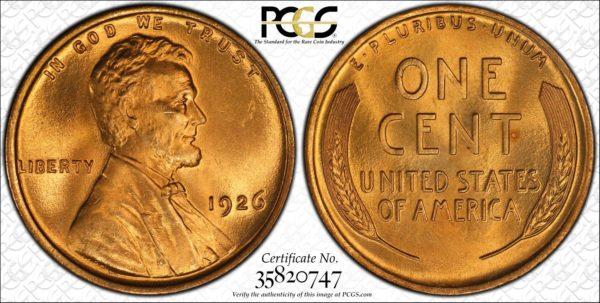 1926 Lincoln Cent, Splendid Red Gem PCGS Coin