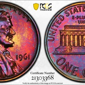 1961 Toned Lincoln Cent PR66RB PCGS 'Fuchsia Fire'