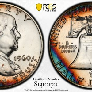 1960 Half Dollar, Gorgeously Toned 'Steel and Copper' PR65 PCGS