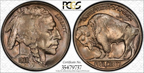1938-D/S Buffalo Nickel MS66 PCGS, Ex: John Whitney Walter Collection