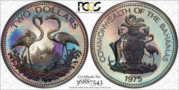 Bahamas Silver 2 Dollars 1975-FM PR67DCAM PCGS 'Stunning'