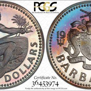 Barbados Silver $10 1973-FM PR68DCAM PCGS 'Pale Atlantic'