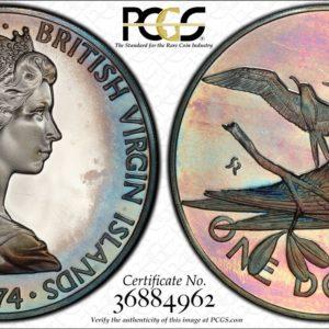 British Virgin Islands $1 Silver 1974-FM PR68DCAM PCGS Magnificent Frigatebird