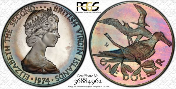 British Virgin Islands $1 Silver 1974-FM PR68DCAM PCGS Magnificent Frigatebird