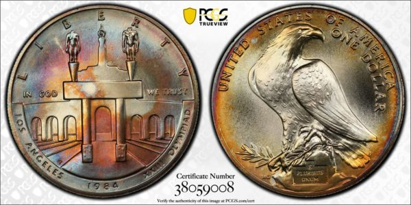 1984-P Olympic Silver Dollar, MS68 PCGS Gorgeous Toning