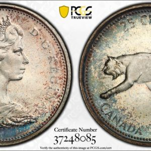 Canada 1967 Quarter MS66 PCGS 'Stealthy Blue'