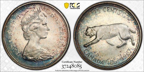 Canada 1967 Quarter MS66 PCGS 'Stealthy Blue'