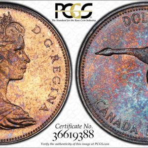 Canada 1967 Silver Dollar MS64 PCGS Flying Goose, Gold and Purple Toning, One-Year Type