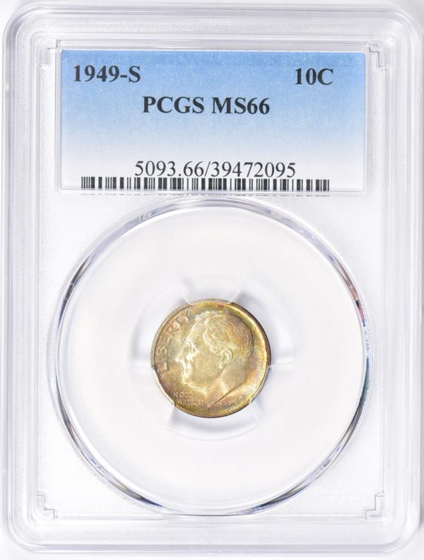 1949-S Roosevelt Dime, Sandy-Toned MS66 PCGS, Low-Mintage Issue