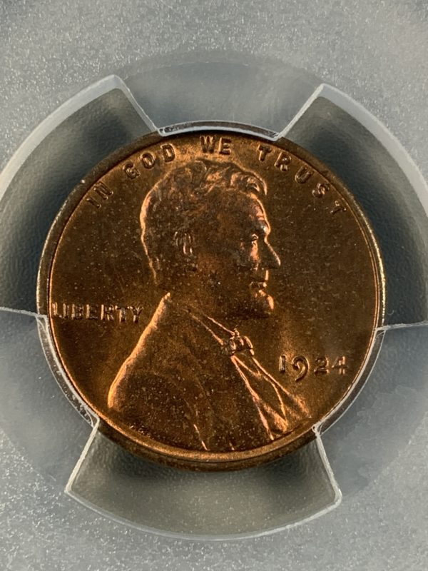 1924 Lincoln Cent, Mostly Red MS64RB PCGS Gleaming Surfaces!