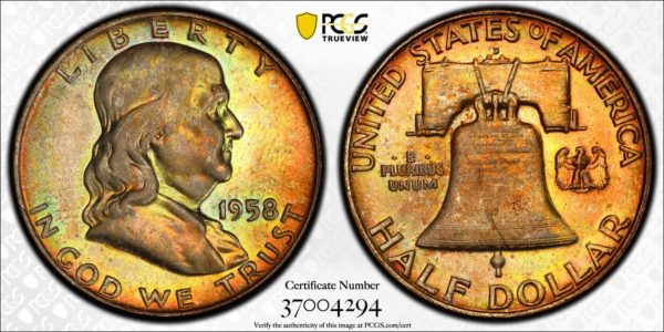 1958-D Franklin Half, Gold- and Amber-Toned MS66FBL PCGS Gorgeous