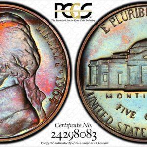 1964 Jefferson Nickel Rainbow-Toned PR67 PCGS 'Fire and Rain'