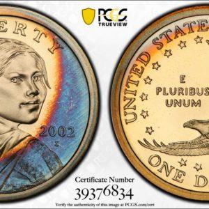 2002-S Toned Sacagawea Dollar PR69DCAM PCGS 'Blue Crescent'