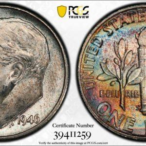 1946-S Roosevelt Dime MS66FB PCGS 'Groovy Blues'