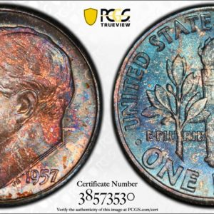 1957 Roosevelt Dime MS66 PCGS 'Coral Blueberry'