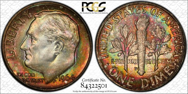 1964-D Roosevelt Dime MS66 PCGS Rainbow-Toned 'Green Fire'