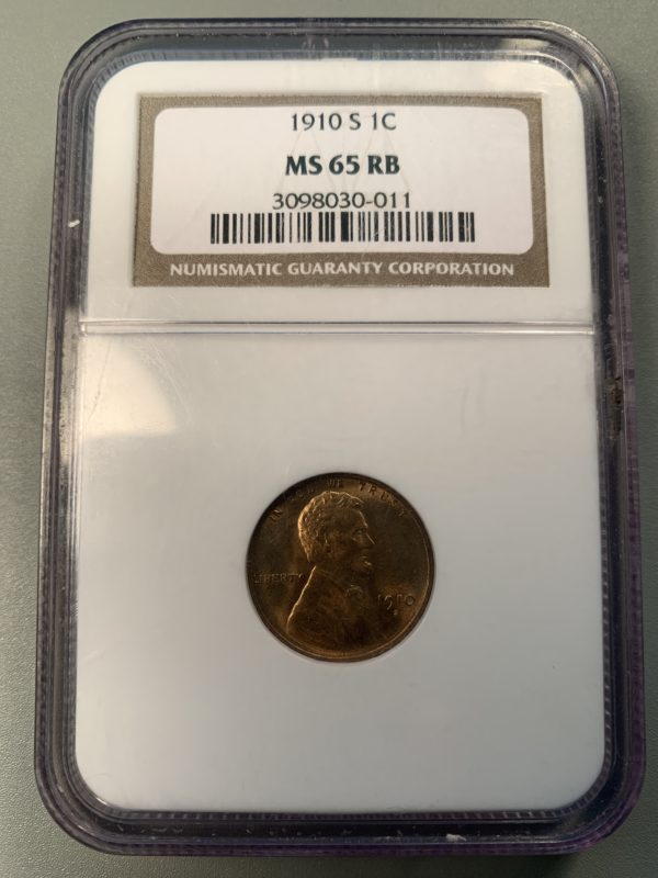 1910-S Lincoln Cent MS65RB NGC Full Red Obverse
