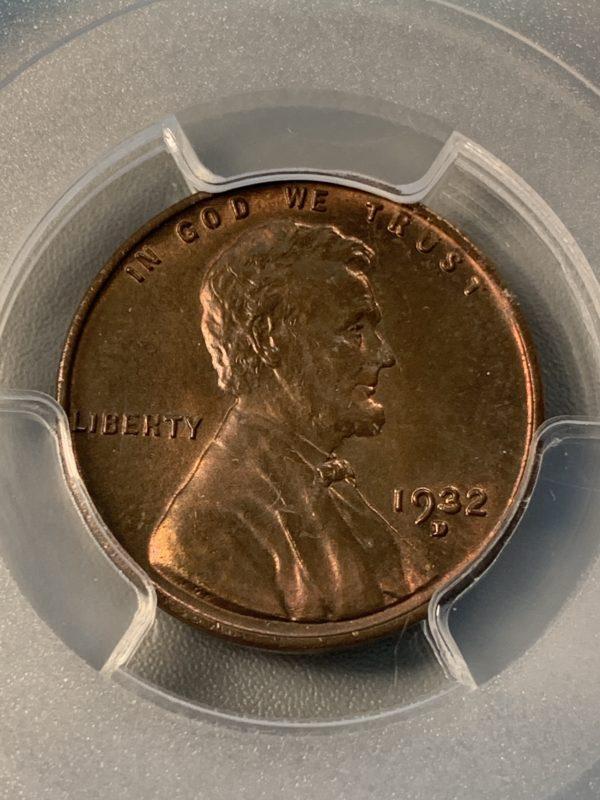 1932-D Lincoln Cent, Lustrous MS64BN PCGS