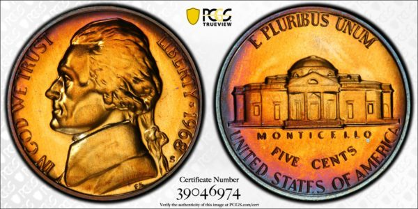 1968-S Jefferson Nickel PR67 PCGS 'Trapped in Amber'